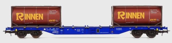 54125 B-Models Containerwagen D-XRAIL  mit 2x 20ft Tank Container Rinnen beladen