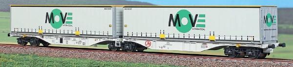 40294 ACME Containerwagen Typ Sggmrss 90 Doppelmodul HUPAC mit 2x Move In-termodal 45ft Wechselpritschen