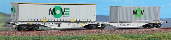 40295 ACME Containerwagen Typ Sggmrss 90 Doppelmodul HUPAC mit 2x Move In-termodal Container