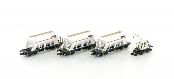 LC66306 Jägerndorfer / Lemke MINIS  Spur N  3er Set Selbstentladewagen der SERSA + 2-Wege Bagger Liebherr A922 rail  Top Deals