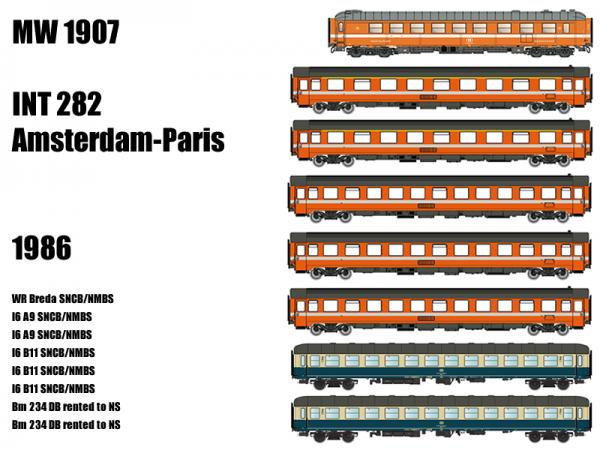 MW1907 ModelsWorld - LS Models 8teiliges Wagenset INT82 Amsterdam-Paris der SNCB